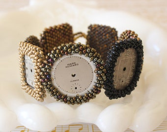 Vintage Watch Face Hand Beaded Bracelet