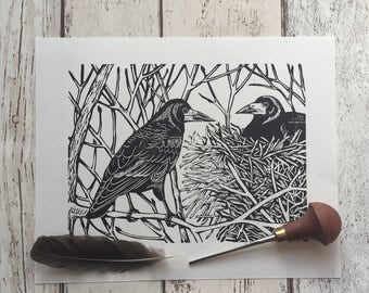 Rook bird linocut print - limited edition, hand-printed
