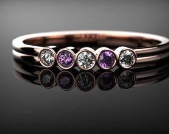 Solid Rose Gold Amethyst Ring Rose Gold Engagement Ring Gemstone Engagement Ring Amethyst Engagement Ring Gemstone Ring February Birthstone