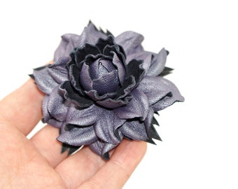 """Genuine REAL pearly violet leather flower hair clip, Rose 2.5"""" Alligator Hair Clip 