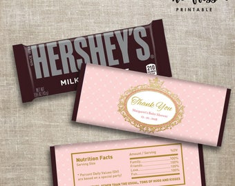 Princess Crown Candy Bar Label | Hershey Chocolate Wrappers | Editable | Printable | Instant Download