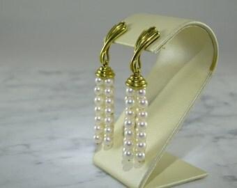 18K Gold/Pearl Tassel Earrings (pierced)