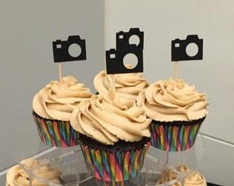 Camera Cupcake Picks, cupcake toppers, 12 cupcake food picks