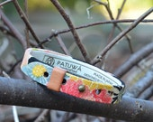 Japanese kimono bracelet. Genuine leather covered with traditional japanese fabric. Men's, unisex jewelry.Black.Floral. Gift.Made in Japan.
