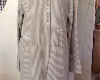 Linen/cotton blue/cream striped jacket