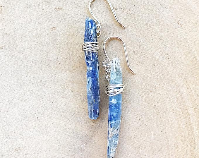 Blue Kyanite Earrings, Silver Healing Stone Jewelry, Natural Crystal, Raw Gemstone, Bridesmaids Gifts, Chakra Balancing, Handmade, Bohemian