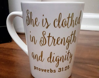 She is Clothes In Strength and Dignity Coffee Mug, Coffee Mugs, Religious Coffee Mugs, Proverbs Coffee Mug, Mother's Day Gift