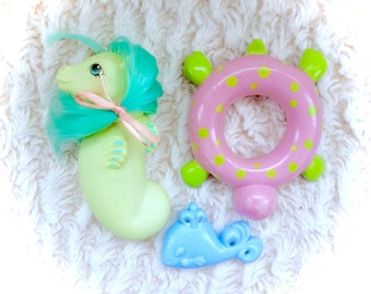 G1 My Little Pony Baby Sea Shimmer Sea Pony Float Brush Ribbon Turtle Seapony Vintage Original G1 1984 MLP 80s Hasbro Sea Horse 1980s