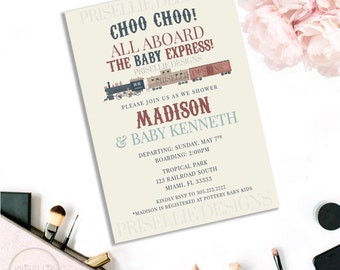 Train Baby Shower Invitation, Train Invitation, Boys Train Shower Invitation, Train Set Invitation, Choo Choo Invitation, Printable Train