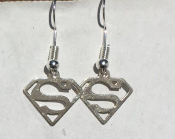 Superman Earrings, Silver 925 charm logo, paired earrings