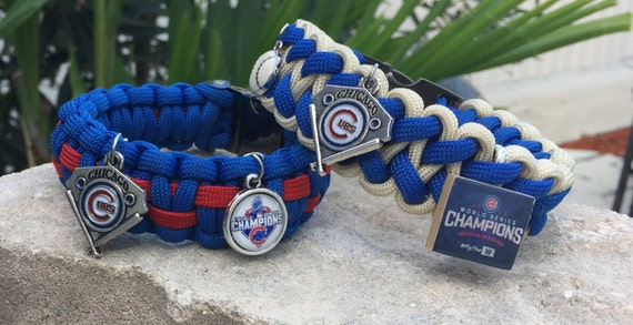 Chicago Cubs Championship Paracord Bracelet, now with an added champion charm