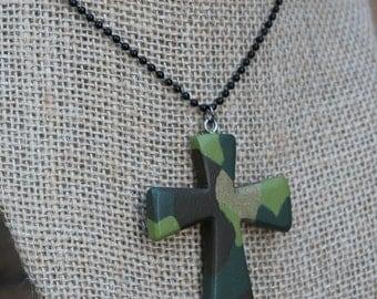 Wood Cross Necklace, Wooden pendant, Cross necklace, Wooden Necklace, Camo necklace, Wood Cross, Religious jewelry, Handmade jewelry, Long