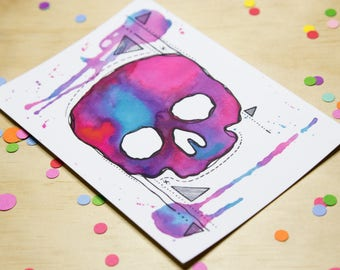Watercolour Skull Postcard in Blue, Pink and Purple.