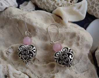 Handmade earrings, silver heart earrings, gift for her, antique silver earrings, textured heart earrings, love earrings, heart jewellery