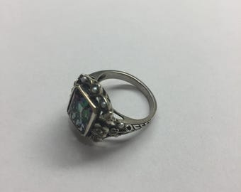 Vintage sterling silver ring with mystic quartz and seed pearls, size 6