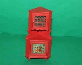 Vintage Dolls House Lundby Red Corner Cabinet