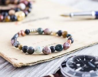 6-8mm Free form indian agate & lava stone beaded stretchy bracelet, made to order yoga bracelet, mens bracelet, womens bracelet