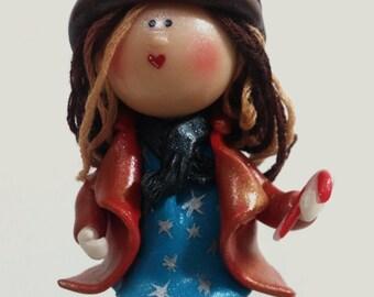 Reindeer Girl Ornament, Christmas Ornament, Girl Keepsake, Gift for Girl, Xmas Tree Ornament, Reindeer Hat, Clay Girl Figurine,