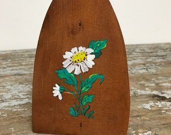 Vintage Wooden Paperweight and Paper clip Handpainted Daisies Office Decor Supplies