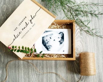Personalized Wedding Photo Box Engraved Wedding Photo Memory Box Wedding gift for couple Anniversary gift Custom gift Wood Keepsake box