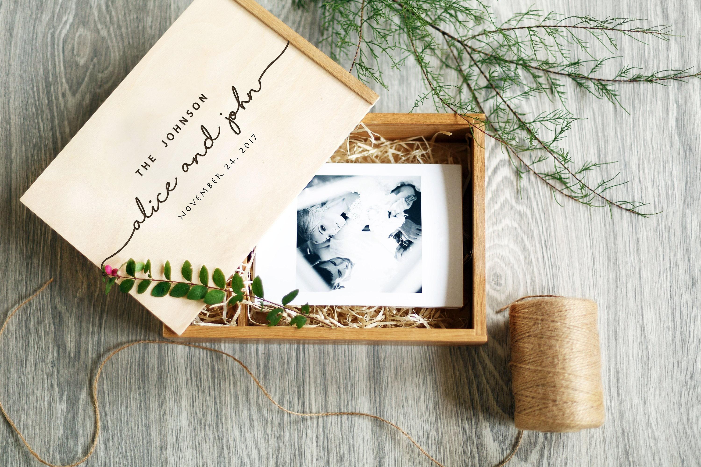 Keepsake Wedding Gifts: Personalized Wedding Photo Box Engraved Wedding Photo Memory