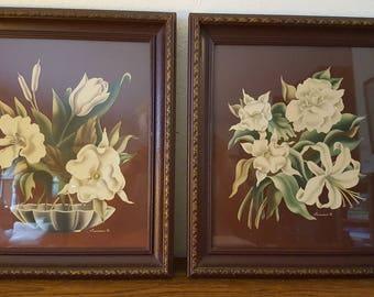 Pair of Antique Turner prints of flowers