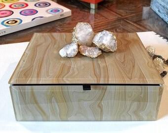 Geode Crystal Decorative Box, Keepsake Box, Marbled Box, Gold Jewelry Box, Christmas Gift, Trinket Box, Crystal Geode, Gold Leaf