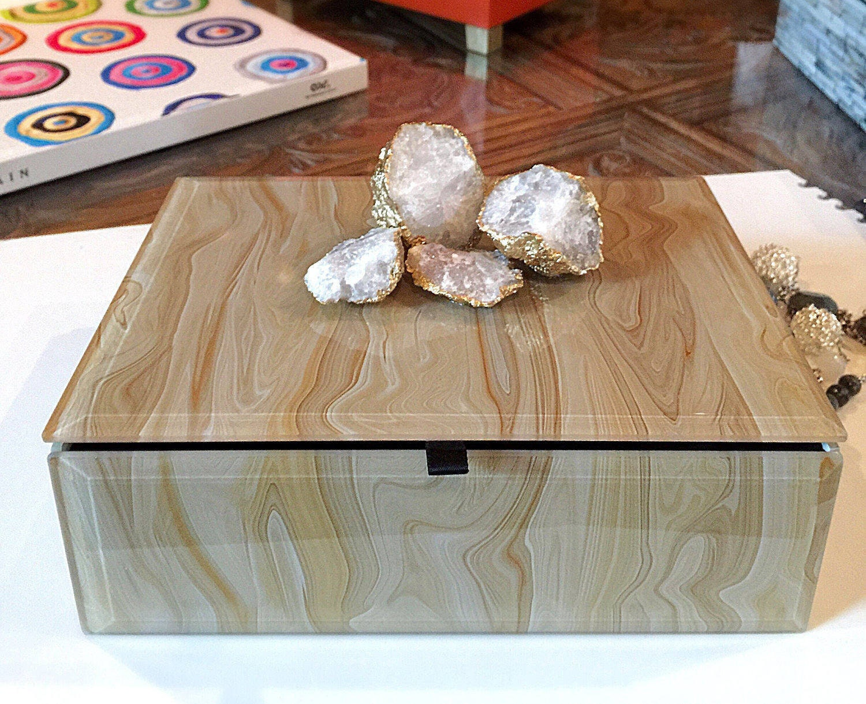 Geode Crystal Decorative Box, Keepsake Box, Marbled Box, Gold ...