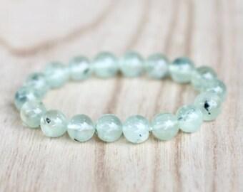 Prehnite Bracelet. Genuine Gemstone Bracelet. Heart Chakra Bracelet. Archangel Raphael. Healing Crystal Bracelet. Love.