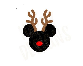 Reindeer Mickey SVG, Christmas SVG, Mickey Mouse Ears SVG, Reindeer Mouse Svg, Mickey Mouse Rudolph, Cricut Cut Files, Silhouette Cut Files