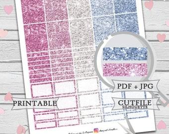 Purple Ice Blue Glitter Stickers Set/Erin Condren Planner Stickers/Printable Planner Stickers/Printable Glitter Stickers/Glitter Header