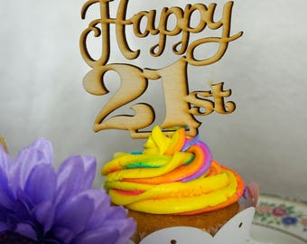 21st Birthday Cupcake and Cake Topper - Wooden Cupcake Topper