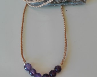 Buddha necklace and amethysts. Macrame woven necklace with buddha and amethyst beads. Amethyst Gemo Pendant
