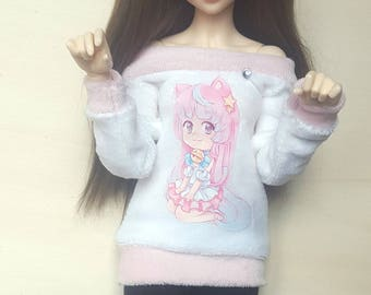 "BJD sweater and leggings ""cute chibi cat"" for MSD 1/4 sized dolls"