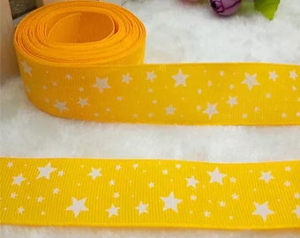 """1"""" Yellow and White Stars Ribbon by the Yard   K24"""