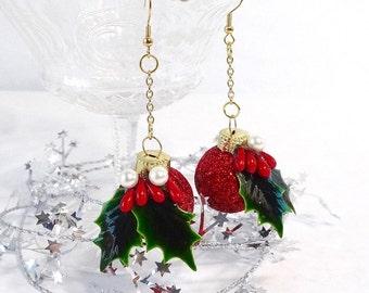 red glitter earrings, holly and mistletoe berry earrings, holiday earrings,  festive earrings, party jewelry, New Years earrings
