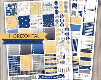 Horizontal New Year printable planner stickers party tassle banner champagne glass bottle weekly kit for use with Erin Condren LifePlannerTM