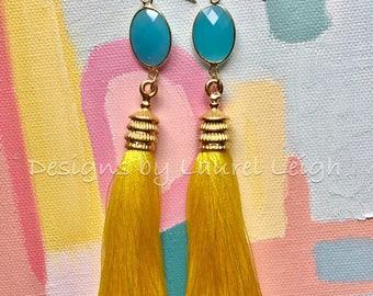 YELLOW Tassel Earrings | AQUA, turquoise, statement earrings, gold, pagoda, long, silk, lightweight