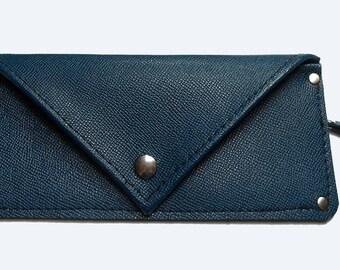 SALE: Leather Wallet, Dark Blue - Handmade in Michigan