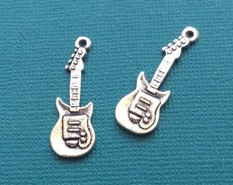 10 Guitar Charms Silver - CS2060