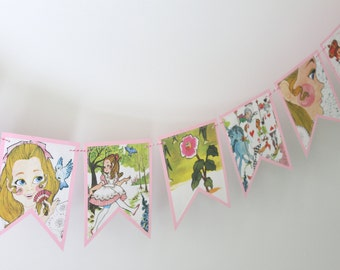Alice in Wonderland - Recycled Book Bunting - Nursery or Party Decoration