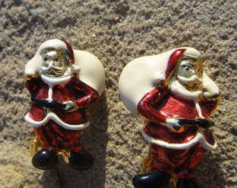 earrings ,  Santa earrings,vintage Santa Clause Clip on earrings, Santa earrings, Christmas jewelry, Holidays jewelry