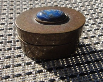 Vintage Collectible  Cooper or brass  Trinket Box ,antique blues agate stone cooper pill box stash box