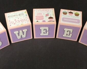 Custom 'SWEET' Decorative Wood Blocks Alphabet Bakery Decor Bakers Cupcake Cake