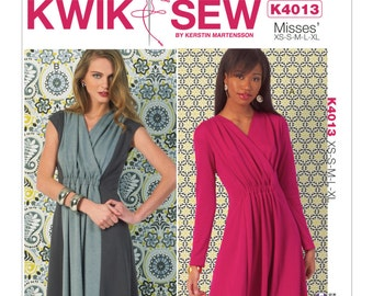 Sewing Pattern for Misses' Misses' Ruched-Front Dresses, Kwik Sew Pattern 4013,  Womens Dress Pattern, Surplice Wrap Front Dress Pattern