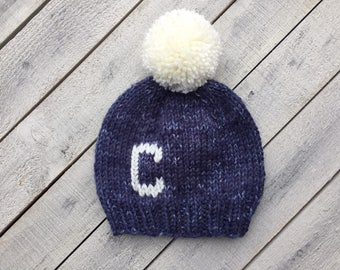 Personalized Knit Baby Hat, Denim Blue Boy Beanie, Initial Toddler Hat, Kids Monogram Hat, Baby Shower Gift for Boy, Blue Infant Winter Hat