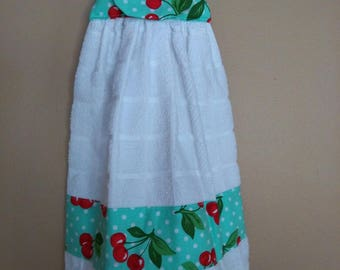 hanging kitchen towel with turquoise and cherries
