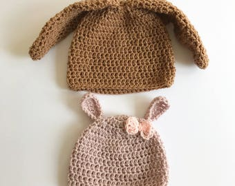Rabbit ears beanie hat; floppy ear bunny hat; dressing up hat