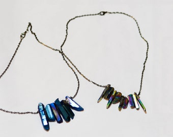 Metallic or ultraviolet blue natural stone necklace
