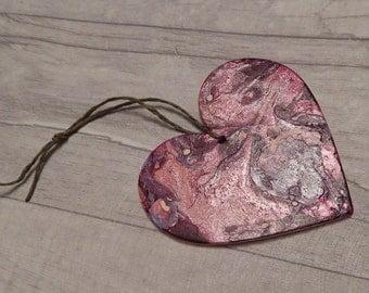 Wooden Purple Rain Hanging Heart